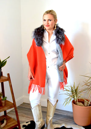Woman wearing Red Two-Tone Shawl, Silver collar, CITY Boots Amarillo Boots