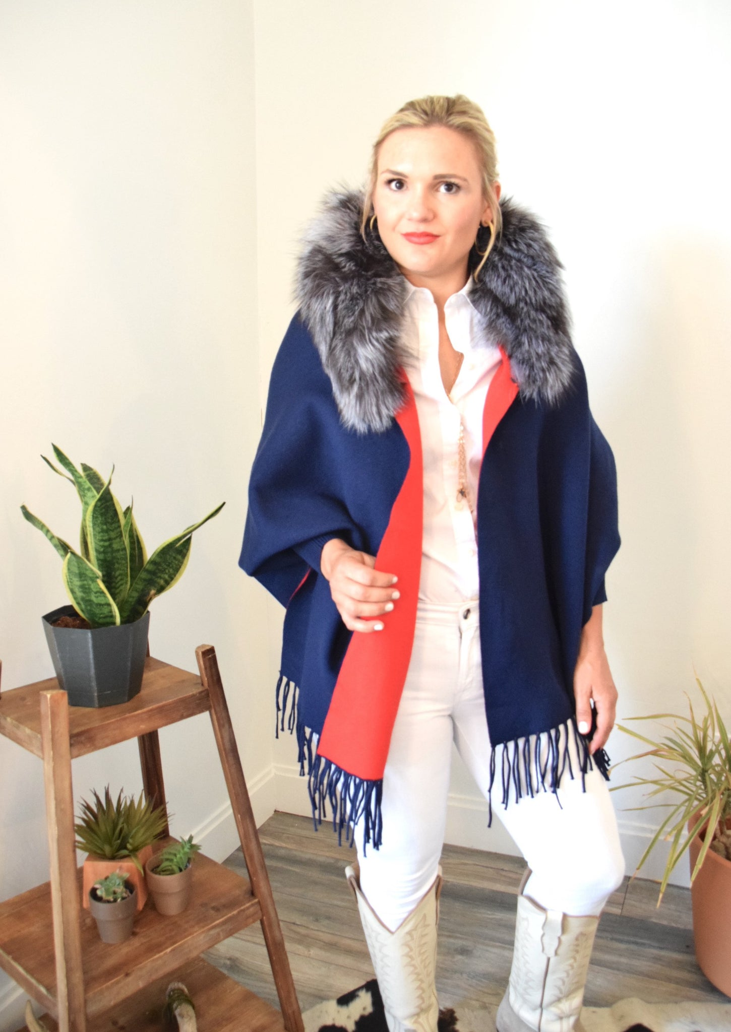 Woman posing in C&B Furs Blue Two-Tone Shawl with Full Silver Collar