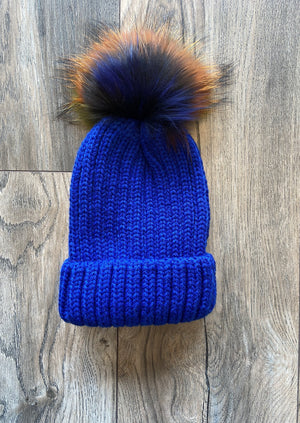 Cable Cord Hat w/ Multi Pom Pom