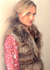 C&B Furs Full Fox & Rex Rabbit Fur Tiered Vest
