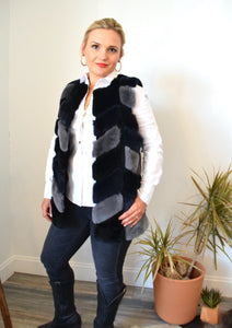 C&B Furs navy & gray fur vest with sheepskin