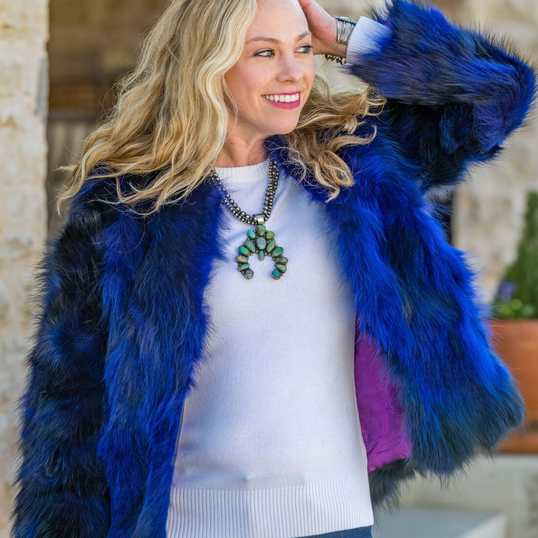 C&B Furs Cobalt Blue fox Fur Bolero, white top