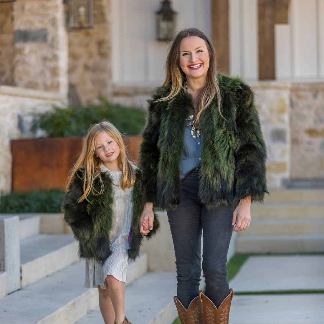 C&B Furs Mommy & Me Green fox fur boleros