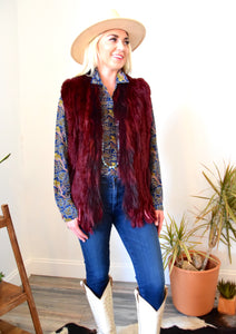 Woman in Wide Brim Hat, C&B Furs Rex Rabbit & Finland Fox Merlot Vest