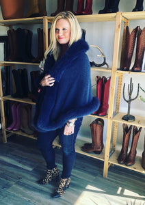 C&B Furs navy cashmere shawl by Kincross