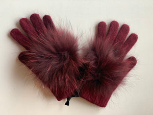 C&B Furs fur pom pom winter gloves merlot
