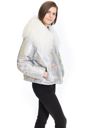 C&B Furs side view of nylon jacket with sheep fur trim
