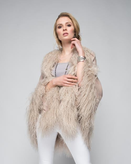 C&B Furs Cashmere Wrap with Sheep Trim in Blush