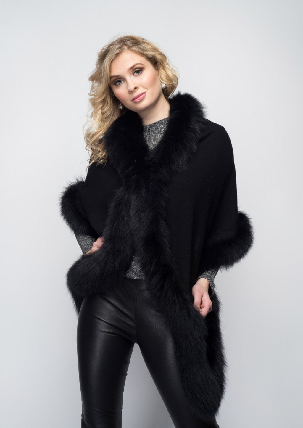 C&B Furs Cashmere & Full Fox Wrap in Black with Clasp