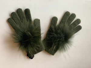 C&B Furs fur pom pom winter gloves olive green
