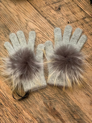 C&B Furs fur pom pom gray winter gloves