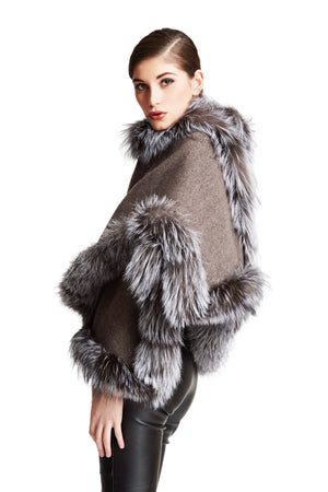 C&B Furs Gray Cashmere tweed cape with full fox fur