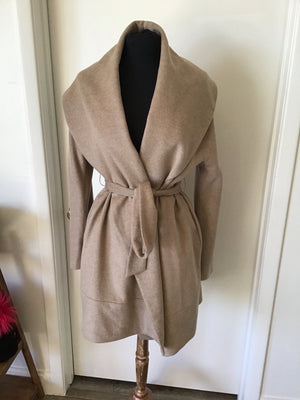 C&B Furs Beige cashmere wrap coat on mannequin