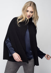C&B Furs Cashmere & Fox Poncho with Crystals
