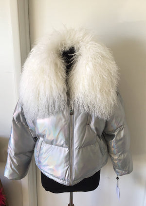 C&B Furs sheep fur trim holographic jacket on mannequin