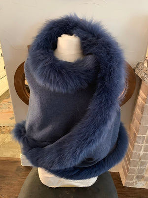 C&B Furs navy cashmere shawl with fox fur trim