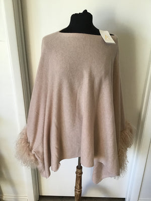 C&B Furs Blush Sheep Trim Cashmere Poncho on Black mannequin