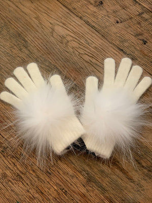 C&B Furs fur pom pom winter gloves ivory