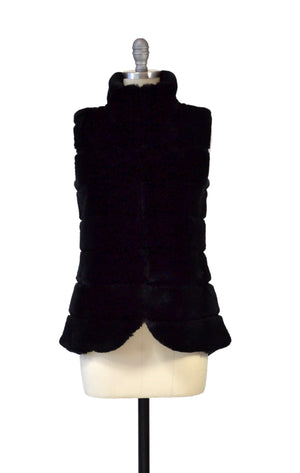C&B Furs plush rex rabbit and black cashmere vest on mannequin