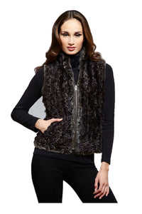 Brunette woman wearing C&B Furs brown reversible Rex Rabbit fur vest