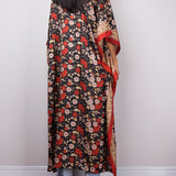 Kaftan. Red/Flowers. One Size.