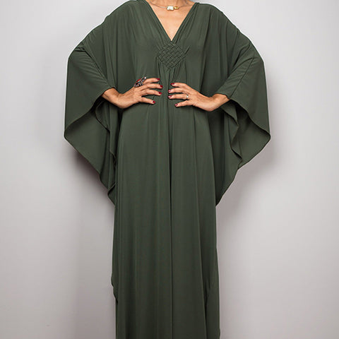 Kimono dress. Moss Green. One Size.