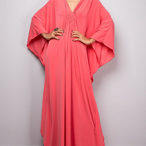 Kimono dress. Salmon Pink. One Size.