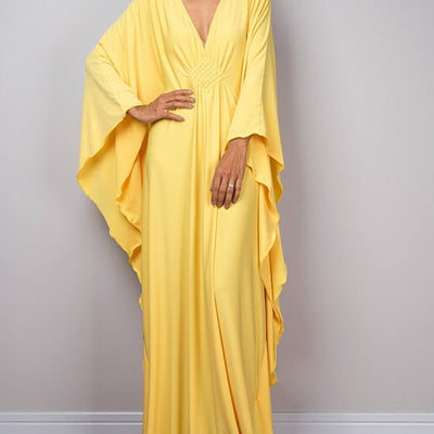 Kimono dress. Yellow. One Size.