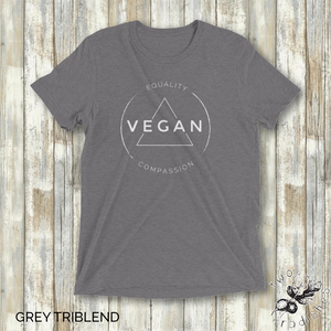 Vegan Equality Compassion - Unisex T-Shirt - Two Radishes - GREY TRIBLEND
