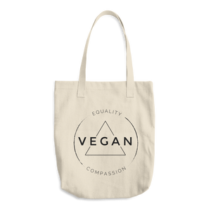 Vegan Equality Compassion - Canvas Tote Bag - Two Radishes - NATURAL