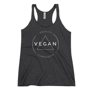Vegan Equality Compassion - Women's Racerback Tank Top - Two Radishes - charcoal black triblend