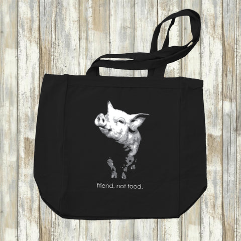 Friend Not Food - Canvas Tote Bag - Two Radishes - black