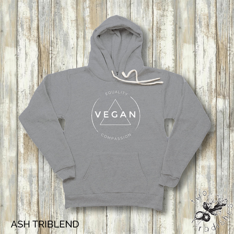 Vegan Equality Compassion - Vegan Unisex Hoodie - Two Radishes - VINTAGE GREY