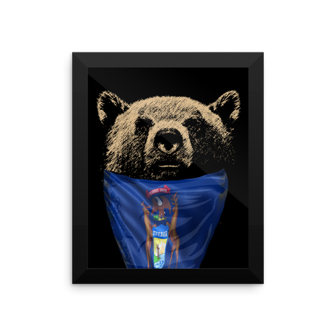 Michigan Bear Pride Framed photo paper poster