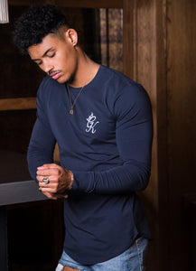Gym King Longsleeve Fitted T-shirt - Blue Nights