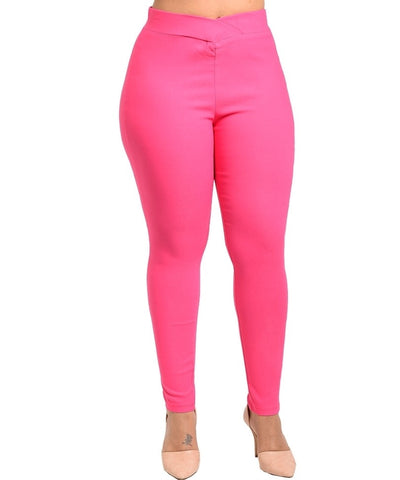 Plus size fashion elasticized knit pants