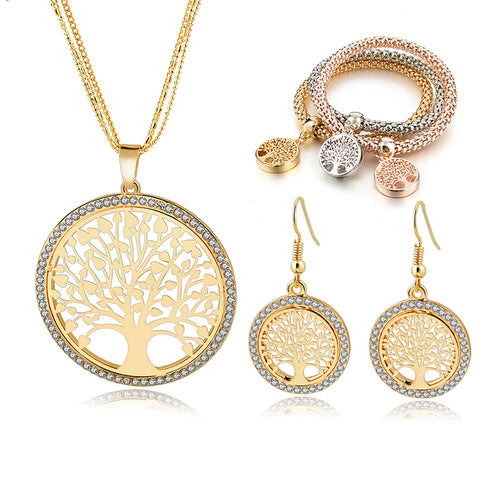 Austrian Crystal Rhinestone Tree Of Life Jewelry Set