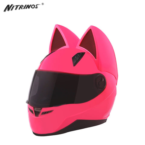 NITRINOS Women Motorcycle Kitty Ears Helmet   4 Colors Pink Yellow Black White