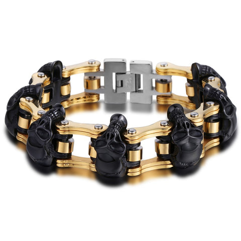 Stainless Steel Punk Skulls Motorcycle Link Chain Bracelet
