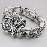 Men's Sterling Silver Motorcycle Engine Biker Bracelet