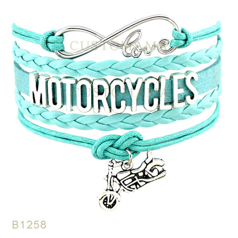 Infinity Love Motorcycle Bracelets For Women Leather Wrap Bracelet