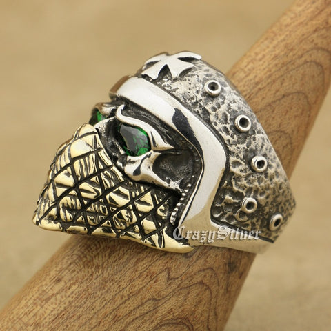 Sterling Silver Motorcycle Helmet Skull Ring Green CZ Eyes