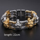 Men's Stainless Steel Skull Black/ Gold/ Silver Tone Biker Bracelet