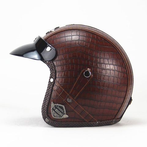 Leather  Motorcycle/ Chopper  Helmet