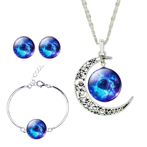 Glass Galaxy Jewelry Sets