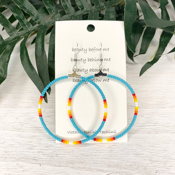Sky Blue Fire Beaded Hoop Earrings