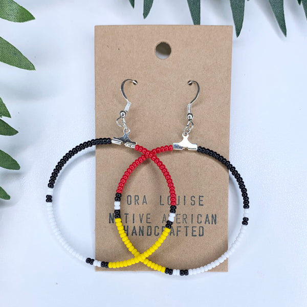 Four Directions Beaded Hoop Earrings