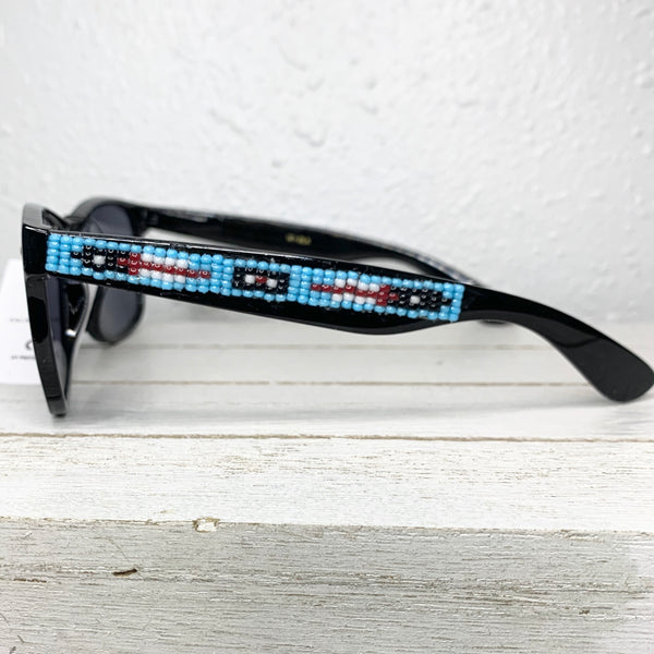 Sky Blue Feather Beaded Sunglasses