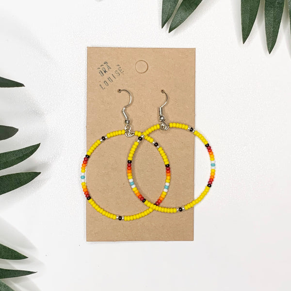 Yellow Silver Bead Hoop Earrings