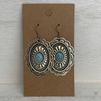 Silver Plated colored stone Concho Earrings